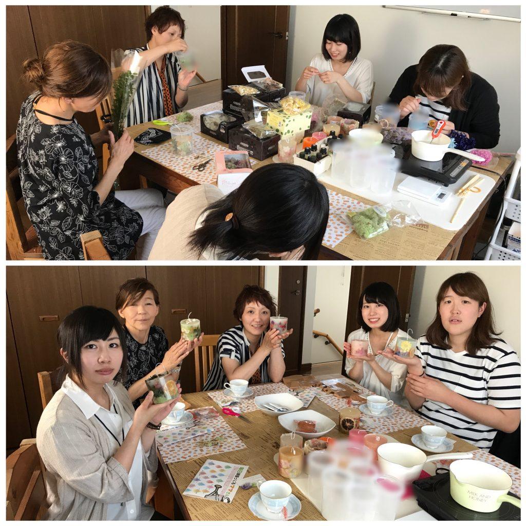 円柱型花キャンドルレッスン